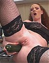 Redhead In Stockings Plays With Supersized Veggies